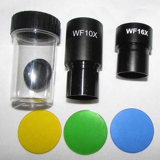 فیلترهای رنگی ، عدسی های چشمی و محفظه یکی از عدسی های شیئی میکروسکوپ بیولوژی 1600 برابر مدل xsz-801bn