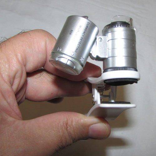 نمای گیره میکروسکوپ موبایل 60 برابر دارای کلیپس مخصوص - Universal-Clip-Type-LED-Cellphone-Microscope-60X