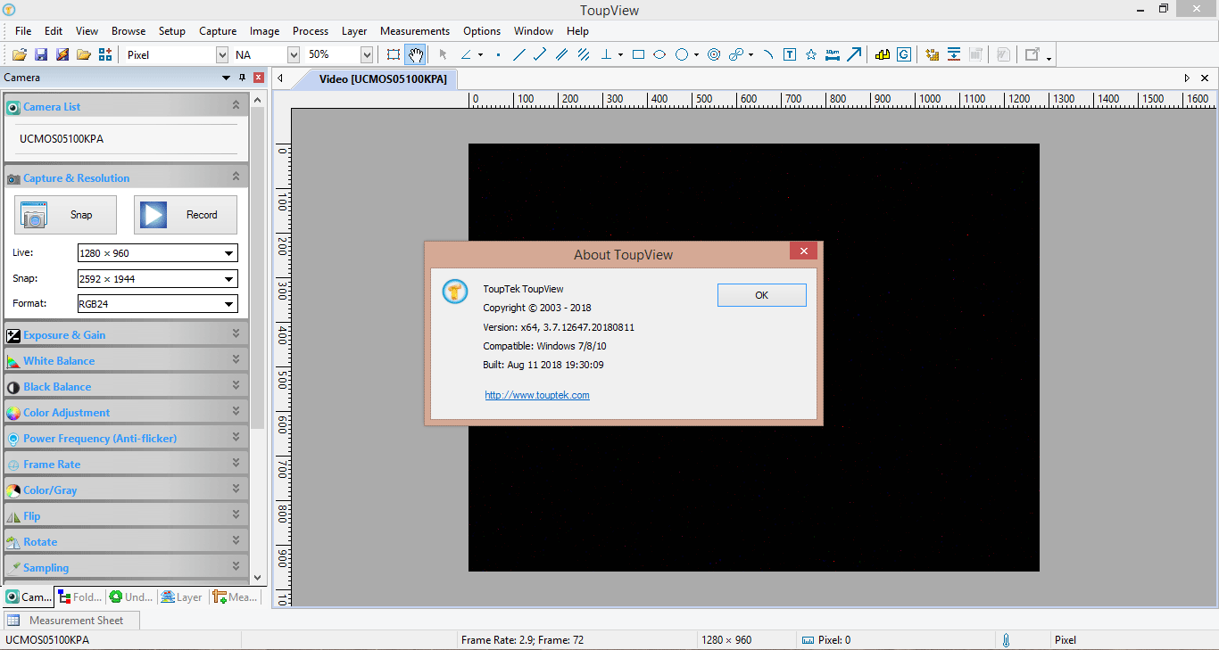 محیط کاری نسخه 64 بیتی ویندوزی نرم افزار حرفه ای دوربین میکروسکوپ مارک تاپ تک (ToupTek)