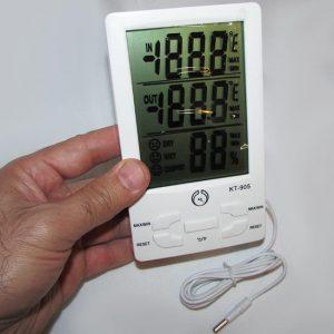 مشاهده ابعاد دماسنج و رطوبت سنج دیجیتال سه خانه دارای سنسور خارجی مدل KT905